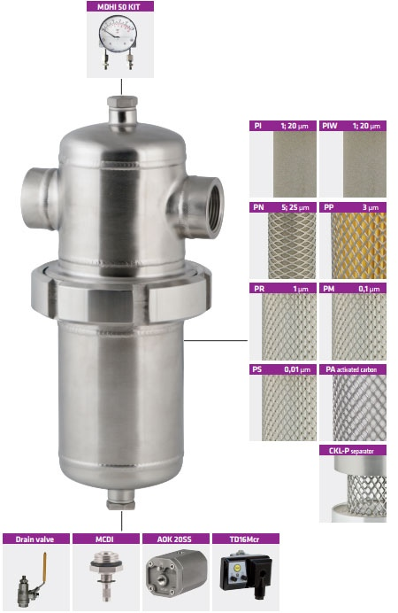 welded stainless steel air filter